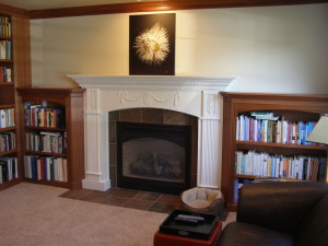 Finished Fireplace Mantel and Bookcases